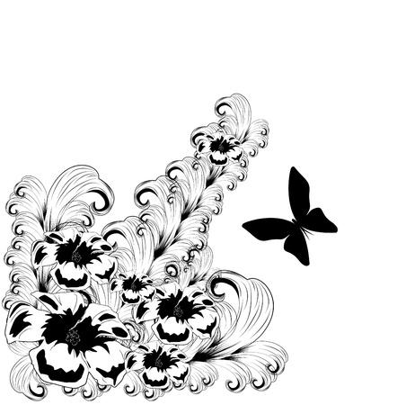 Black floral design element  Vector