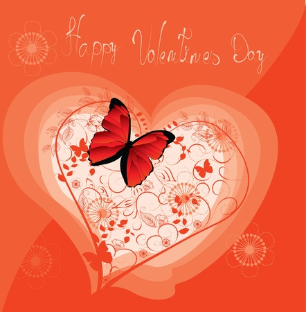 Greeting card with floral heart  Stock Vector - 8985882