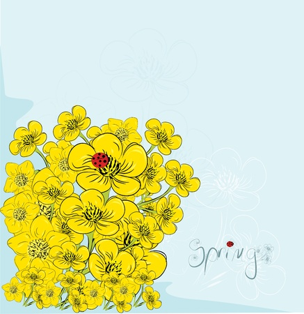 Floral de la carte postale Invitation en vecteur
