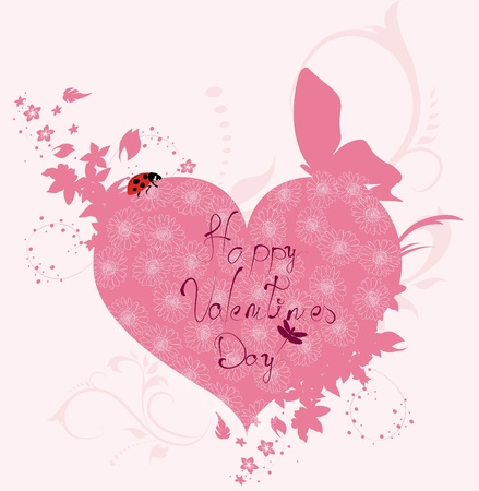 february 14th: Love card with heart and ladybird  Illustration