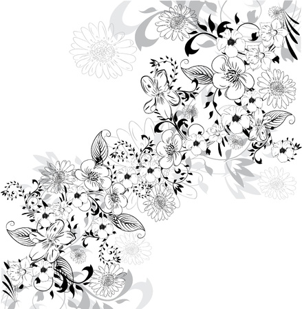 wedding backdrop: Background with floral element  Illustration