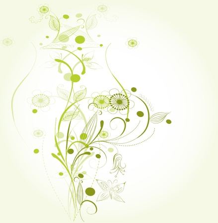 Beautiful abstract floral background with butterflies. Stock Vector - 9370980