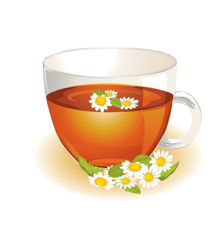chamomile: Cup of hot herbal camomile Illustration