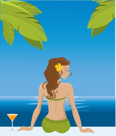Girl on vacation Stock Vector - 10718414
