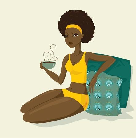 femmes africaines: belle femme africaine avec caf� Illustration