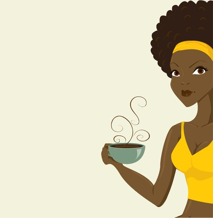 beautiful african women with coffe Vector