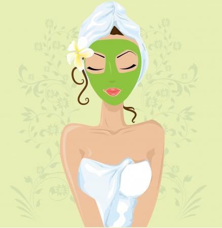 facial massage: Fille avec masque facial