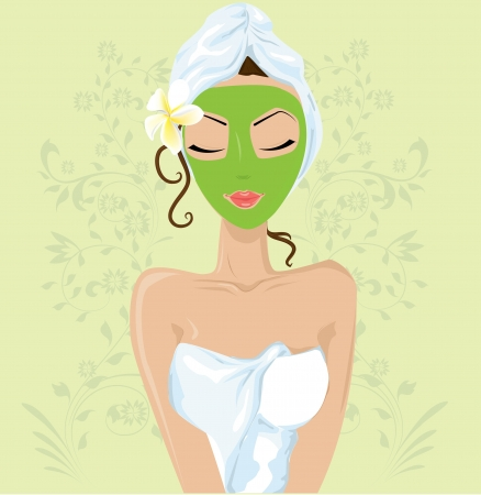 Girl with facial mask  Vector