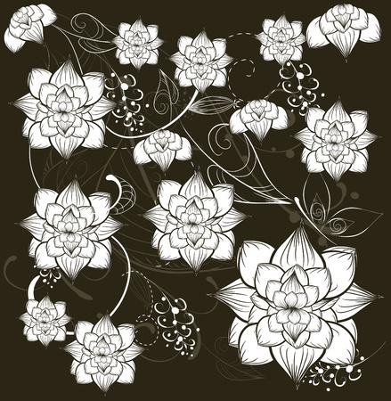 linework: Floral seamless pattern
