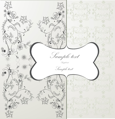 linework: floral background, greeting card