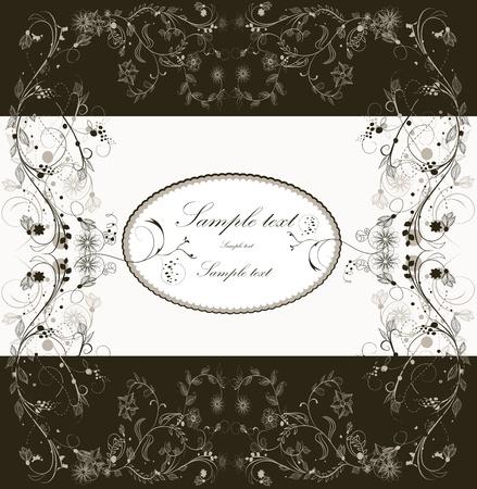 linework: Floral greeting card  Illustration