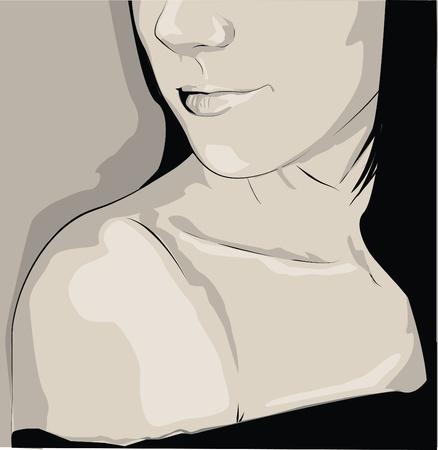 silhouette portrait de femme avec de belles lèvres