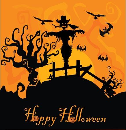 autumn scarecrow: vector halloween background  Illustration