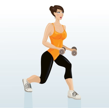 Beautiful girl working out with dumb-bell  Illustration