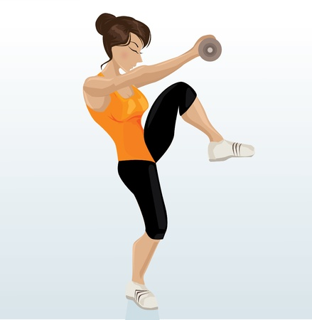 Beautiful girl working out with dumb-bell  Vector