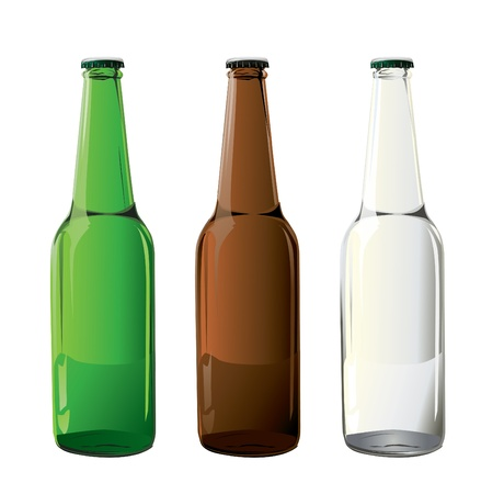 green beer: beer bottles in vector  Illustration