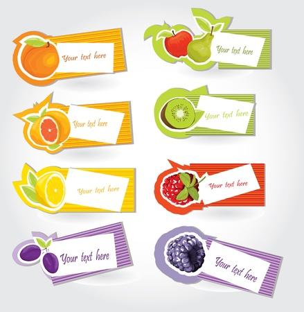 sticker vector: Vector fruit sticker set