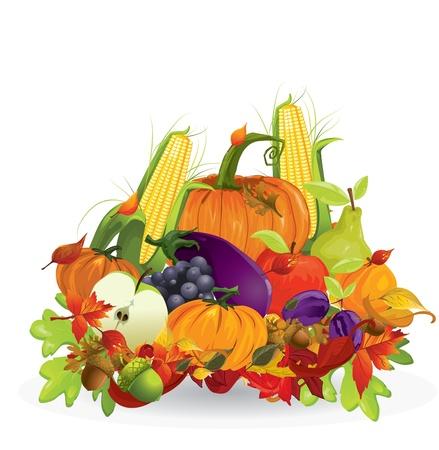 秋野菜と果物  イラスト・ベクター素材