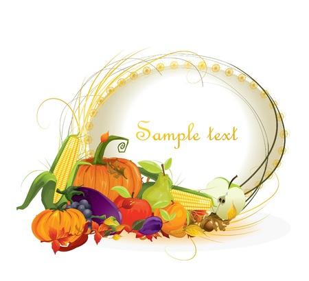 가을 벡터 배경 야채와 과일 일러스트