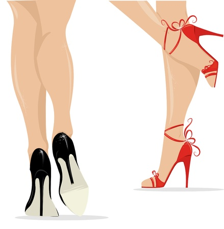 woman legs in fashion shoes  Illustration