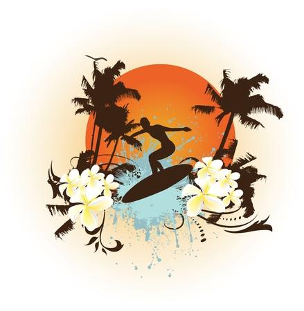surf silhouettes: Grunge fiore surf Vettoriali