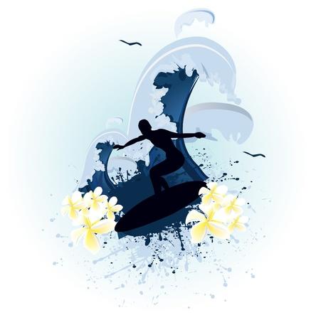 blue grunge surf  Vector