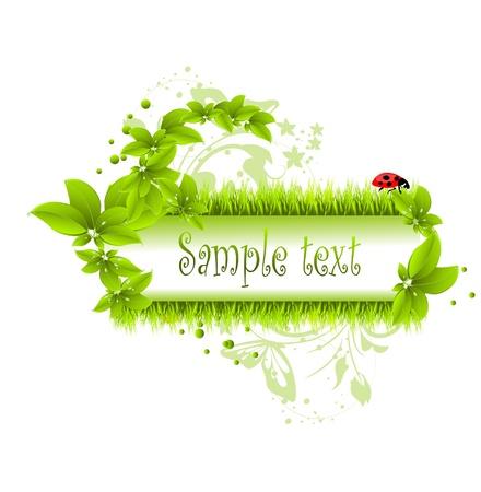 vector illustratie van groene bladeren en gras