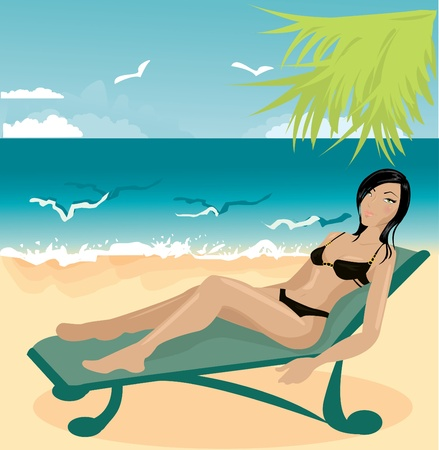 Young woman on a beach Stock Vector - 10718518