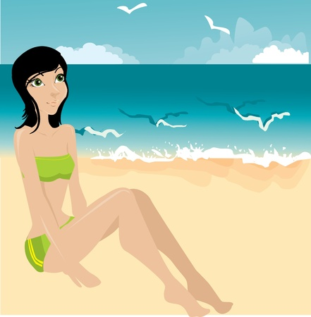 Young woman on a beach Stock Vector - 10718503