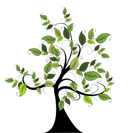family isolated: decorative green tree Illustration