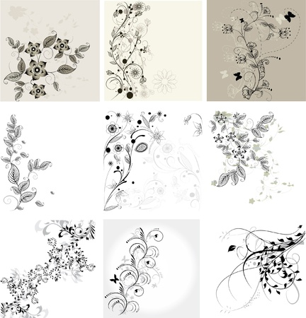 set van bloemen achtergronden