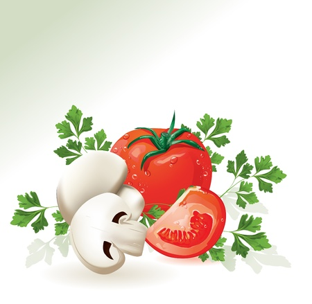 Mushroom champignon and tomatoes.  Stock Vector - 10999789