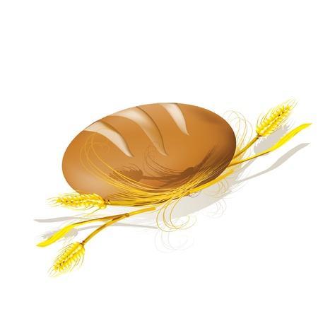 Vector illustratie. Brood en tarwe. Stock Illustratie