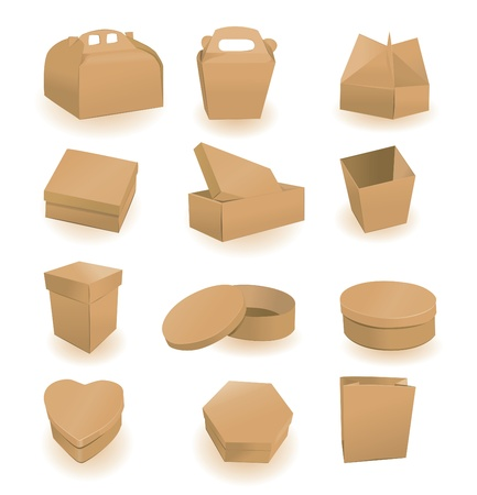 packaging design: Set of boxes and packages. A vector illustration  Illustration