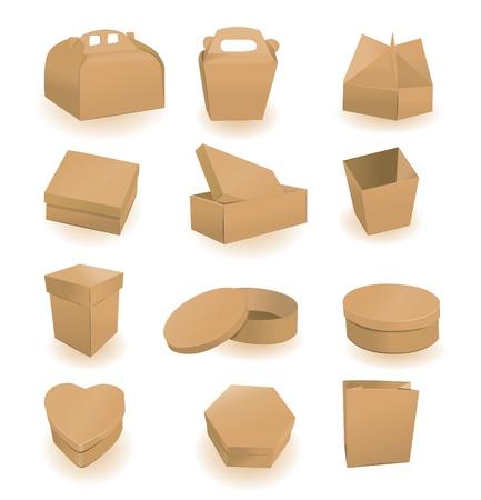 Set van dozen en pakketten. Een vector illustratie