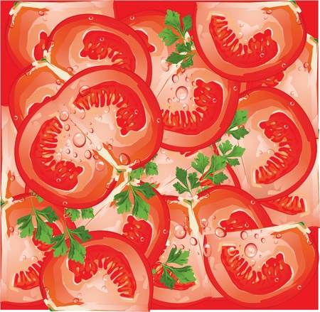 abstract art vegetables: Vector seamless pattern with tomato