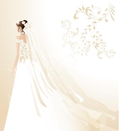 美しい花嫁  イラスト・ベクター素材