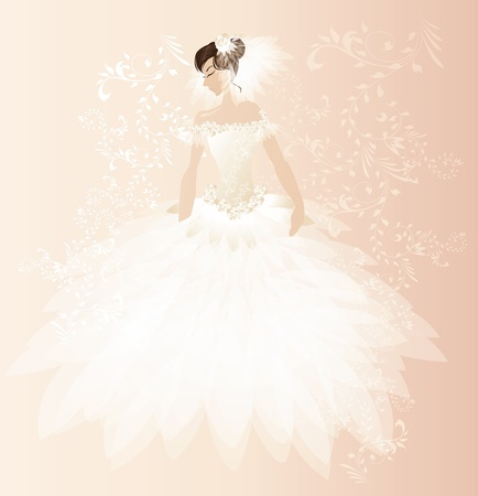 bridal bouquet: Beautiful bride card Illustration