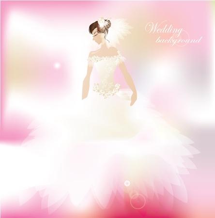 bridal veil: Bride on romantic  pink background