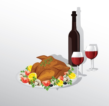 Tasty crispy roast turkey or hen and vegetables, and wine Vector