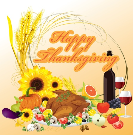 thanksgiving dinner illustration background Stock Vector - 10999813