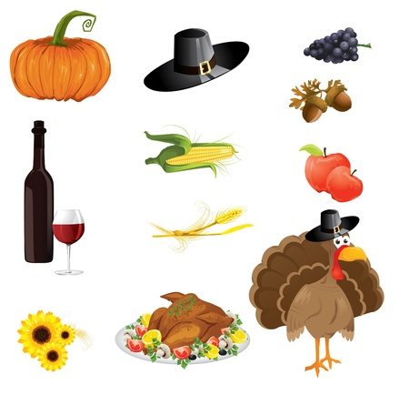 a set of thanksgiving icons  Vector