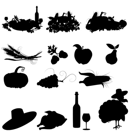 set of vector silhouette images of fall festivals and harvest Vector