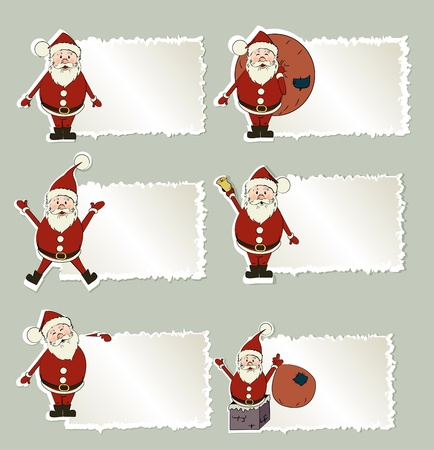 glases: set of christmas label Santa Claus