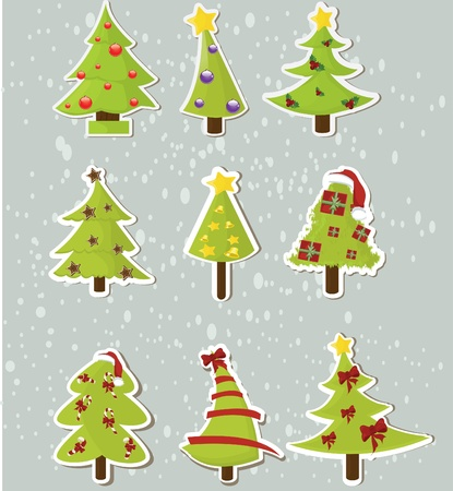 Set of Christmas trees on stickers   Vector