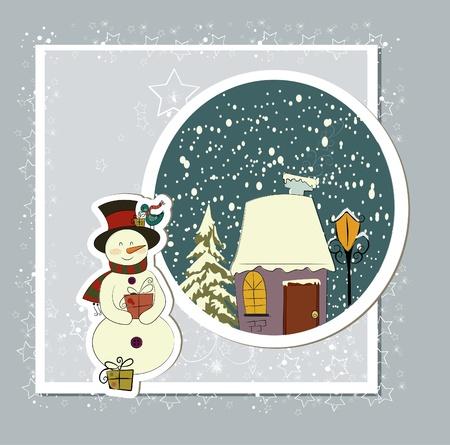 A cute Christmas card with a snowman Stock Vector - 10999795