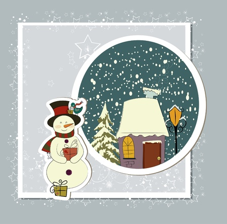 A cute Christmas card with a snowman Stock Vector - 10999795