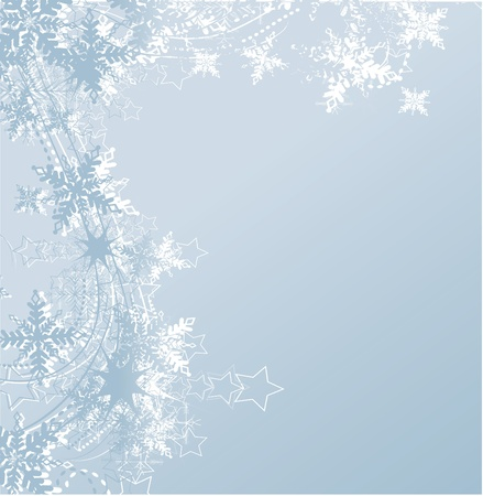 falling snow: blue winter background & snowflakes