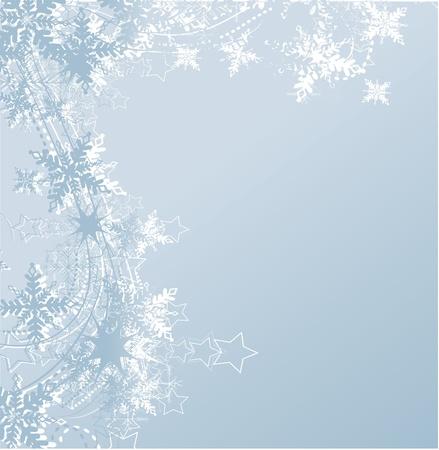 neige qui tombe: fond bleu d'hiver et les flocons de neige