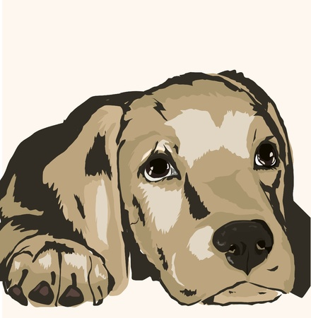 puppy cartoon: sad dog Illustration